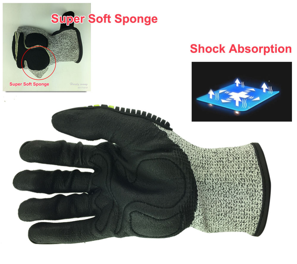 Image 3 - Cut Resistant Anti Vibration Mechanic Safety Protective Work Gloves For Construction Oil Proof Industry-in Safety Gloves from Security & Protection