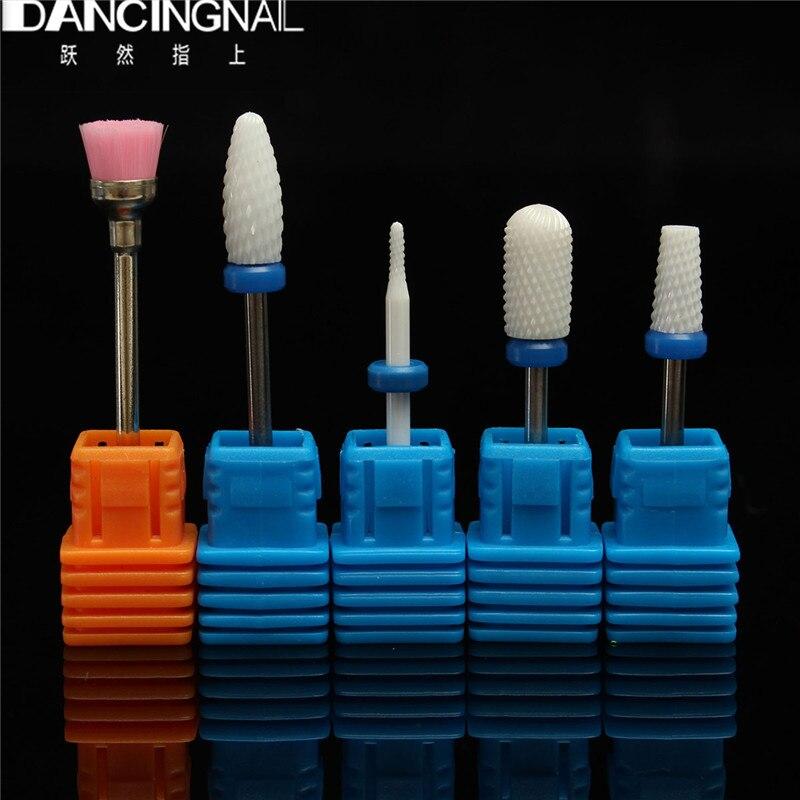 ФОТО 5Pcs Professional Ceramic Nail Art Drill Bits Salon For Polish Electric Nails Drills Machine Manicure Pedicure Tools