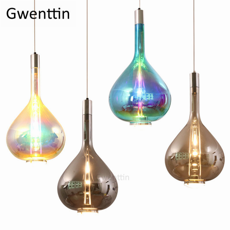 Modern Stained Glass Pendant Lights Led Full Sky Hanging