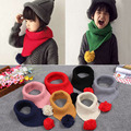 Korean style warm winter fashion knitting wool baby scarf high quality triangle round ball children scarf