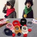 Korean style warm winter fashion knitting wool baby scarf high quality triangle round ball children scarf