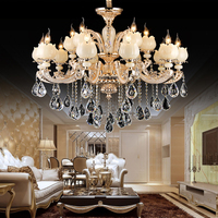 Modern K9 Crystal zinc alloy jade Chandelier Led E14 gold color Chandeliers 15 lights Dinning Room Crystal Living Room Lamp