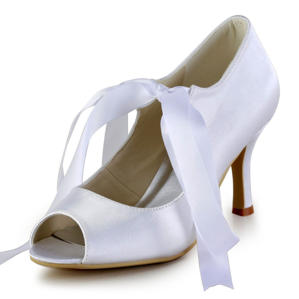 Shoes Woman EP2078 Ivory Blue Satin Bride Wedding Bridal Pumps Ribbons Mary Jane Peep Toe High Heels Lady Prom Party Pumps White