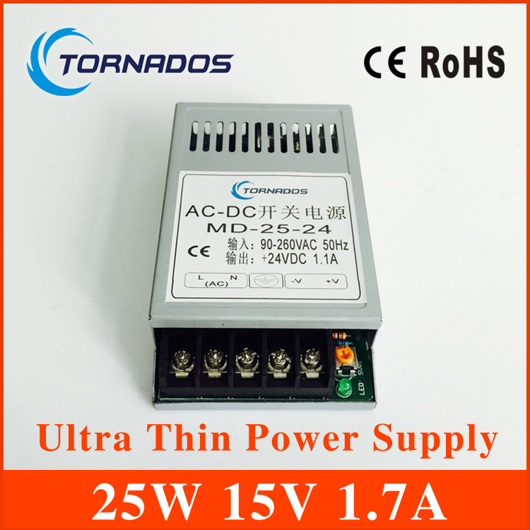 25W 15V Ultra thin Single Output Switching power supply for LED Strip light power source MD-25-15  free shipping china post hot sale 12 volt switching power source supply rainproof 12v 15 200w fy 201 12 16 5a single output china