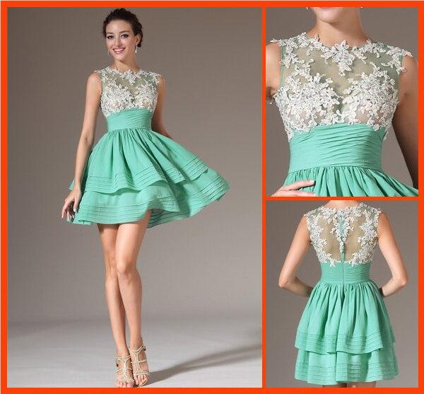 Vestido para formatura curto de renda 2015