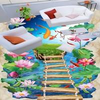 Free Shipping Hawthorn Carp 3D lotus flooring wallpaper living room bedroom office study waterproof floor mural