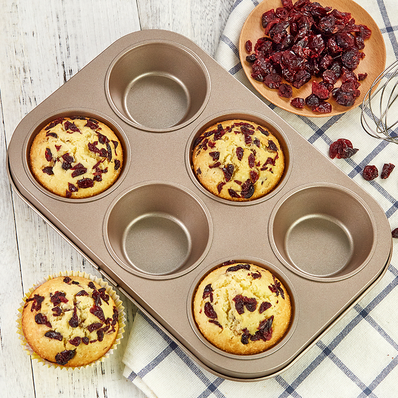 6 Holes Carbon steel Baking Mold Small cake mold Muffin cup continuous mold non-stick baking tray Chocolate Cupcake Cake Mold