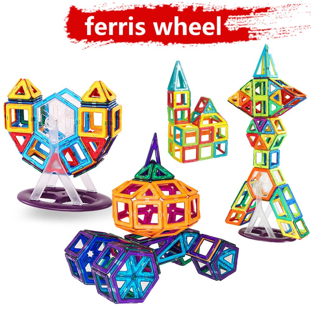 128PCS Magnetic Blocks Magnetic Designer Building Construction Toys Set Magnet Educational Toys For Children Kids Gift