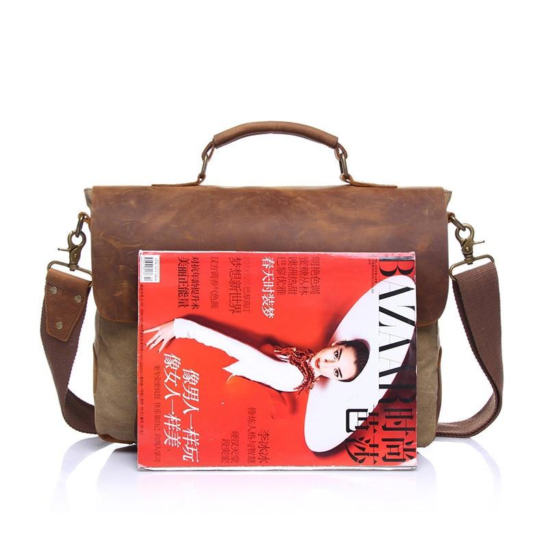 Bagaj ve Çantalar'ten Üstten Saplı Çanta'de Ilk katman cilt bir bez kanvas çanta retro tuval omuzdan askili çanta askılı çanta taşınabilir evrak çantası erkek single'da  Grup 3