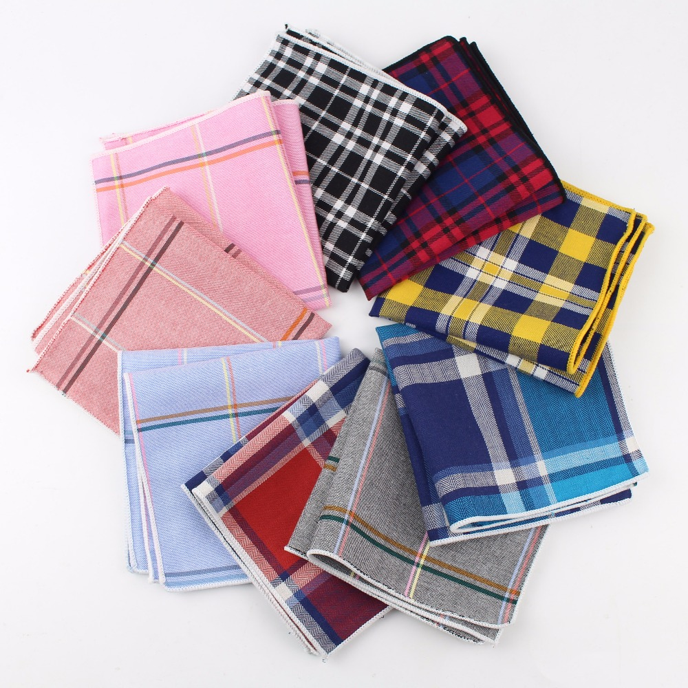 100% Cotton Hankerchief Scarves Vintage Hankies Men's Pocket Square Handkerchiefs Striped Solid Snot Rag 22*22 Cm