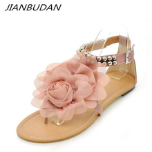цены на JIANBUDAN Flat fashion flower sandals Ankle clasp women's casual sandals Open Toe Flat heel Large size comfortable sandals 34-43  в интернет-магазинах