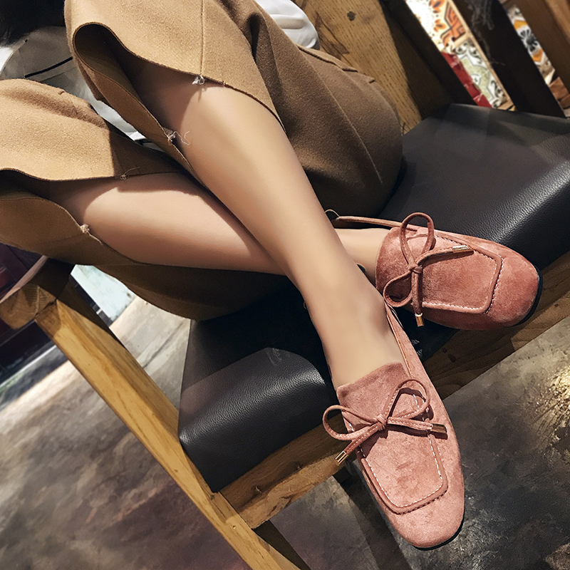 SLHJC 2018 Spring Summer Flats Shoes Women Flatfoot Square Toe Casual Slip On Loafers With Bow Flat Heel Work Shoes women loafers casual shoes female round toe slip on wide shallow flats lady shoes oxford spring summer shoes for women or910314