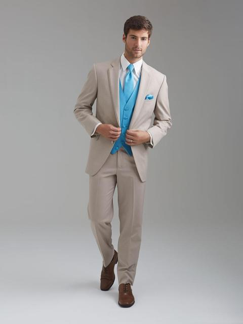 Cool Handsome Jacket+Pants +Vest Two Buttons Peak Lapel Complete ...