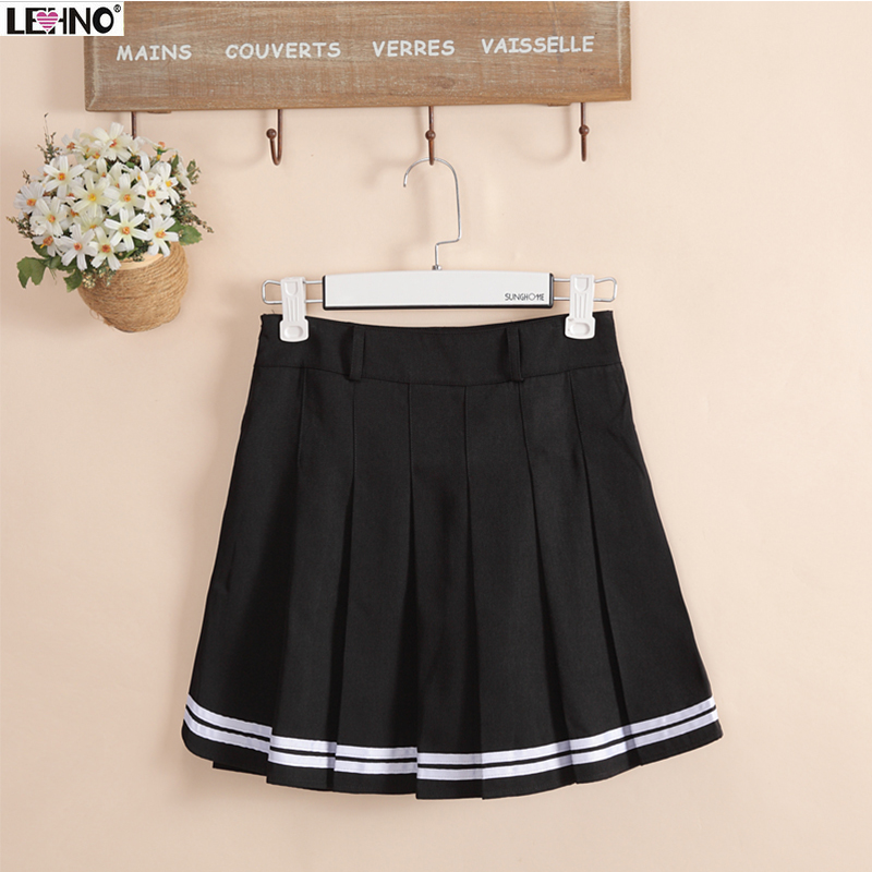 Japan fashion Preppy Style Black Skirts Hem with White Striped Women Girls School Uniform Student Skirts Short Pleated Skirt