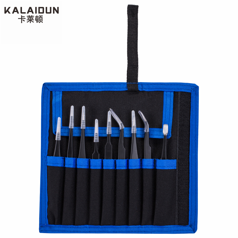 KALAIDUN 9 pcs ESD Tweezers Tools Kit Precision Anti-static Tweezers Set Stainless Steel Tweezers  hand tools Repairing tools 6 pcs safe anti static tweezers repairing maintenance tools esd