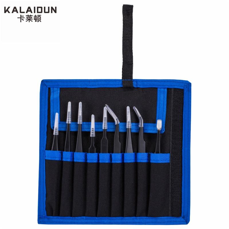 KALAIDUN 9 pcs ESD Tweezers Tools Kit Precision Anti-static Tweezers Set Stainless Steel Tweezers hand tools Repairing tools