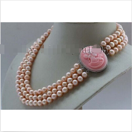 "17-18-19"" 3Rows Genuine Natural 8mm Pink Round Pearl Necklace Cameo #f2387!Noble style Natural Fine jewe FREE SHIPPING"