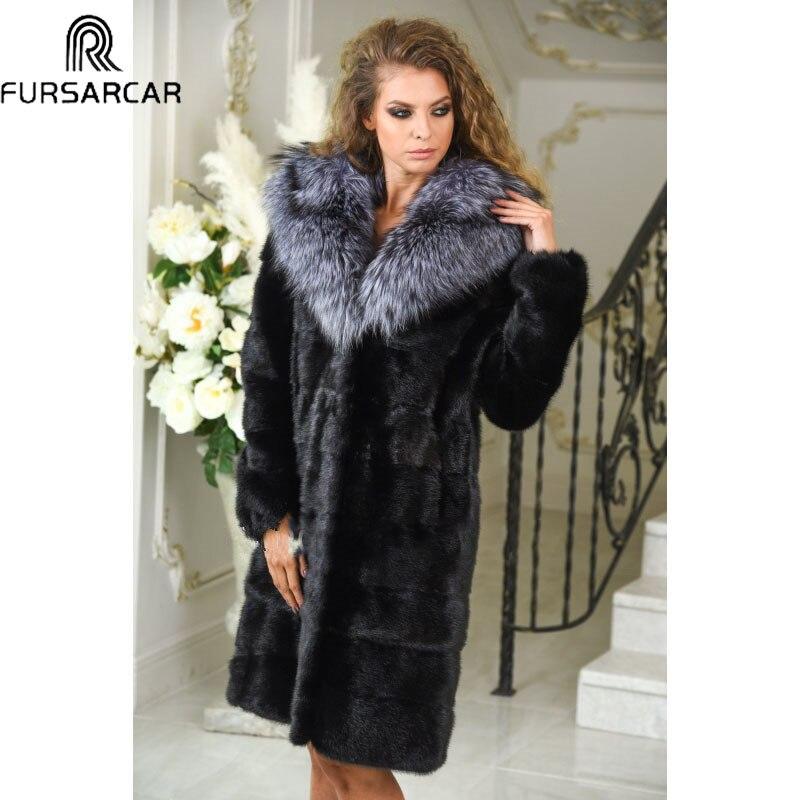 100 Di Inverno Reale Con Volpe Cm 2018 Modo Nero Cappotto Colore Pelliccia  Visone Giacca Nuovo ... 23f349fbbea