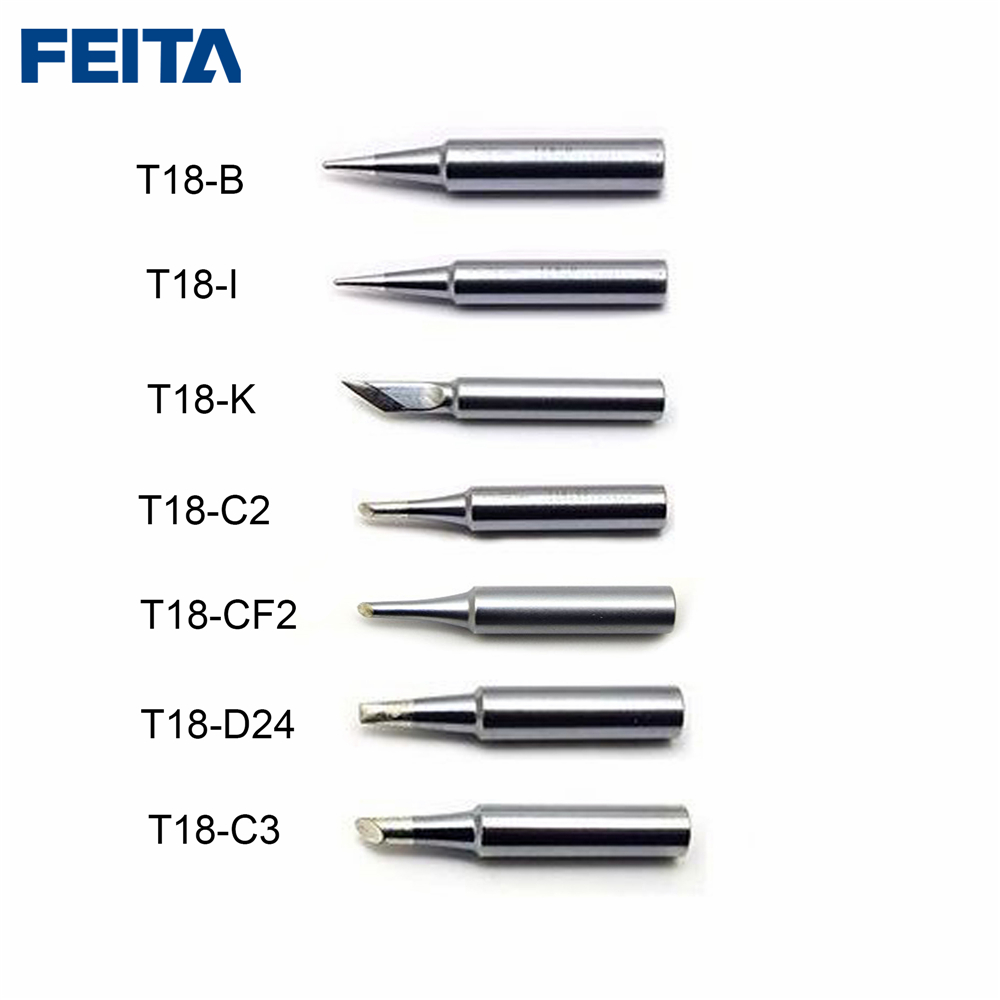 FEITA 10pcs/lot T18-B/I/2C/2CF/D24/K Solder Iron Tip For Hakko FX888/888D Welding Bits Solder Station Electronic DIY Phone Tools
