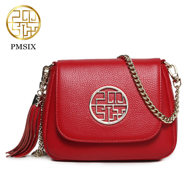 Pmsix 2017 New Chinese style Crossbody Bag Women Small Bags Genuine Leather cowhide mini Chain shoulder bag P210009 new style fashion genuine leather women bag retro cow leather small shoulder bags top grade all match mini women crossbody bag