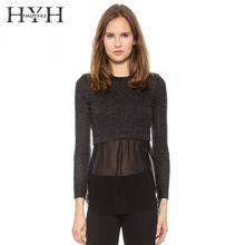 HYH HAOYIHUI 2018Autumn  Fashion sexy Solid Black Chiffon Contrast Women Sweater Female O-Neck Patchwork Casual Pullovers lady contrast lace solid sweater
