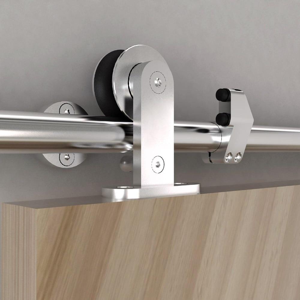 KIN MADE Free shipping Top mounted wooden sliding barn door full set hardware kit satin finish