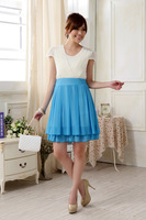 2014 Plus Size XXXL Fashion Women Chiffon Ruffles O Neck Casual Summer Fresh Dress Green Blue