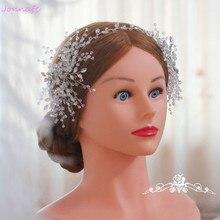 Фотография Jonnafe Pretty Silver Crystal Tiara Wedding Headband Handmade Bridal Headpiece Hair Accessories Women Prom Hair Piece Jewelry