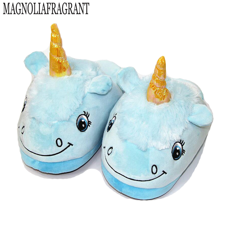 Fit Size 36-41 Plush Unicorn Cotton Home Slippers for White Despicable Winter Warm Chausson Licorne Indoor Christmas Slippers 3d minions slippers woman winter warm slippers despicable minion stewart figure shoes plush toy home slipper one size doll
