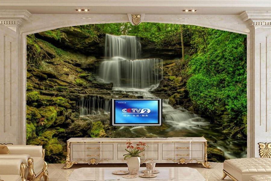 China Sofa Fabric Bed End Waterfalls Usa Stream Nature Wallpaper Papel De ...