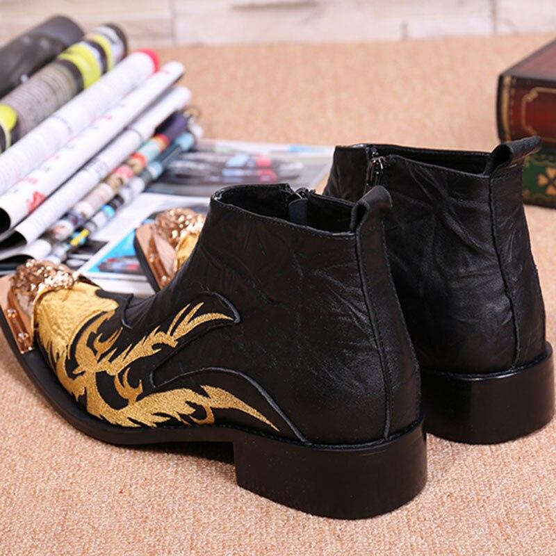 Batzuzhi Designer bout en métal noir haut en cuir hommes chaussures mode Zipper court bottine pour hommes chaussures brodées noir - 5