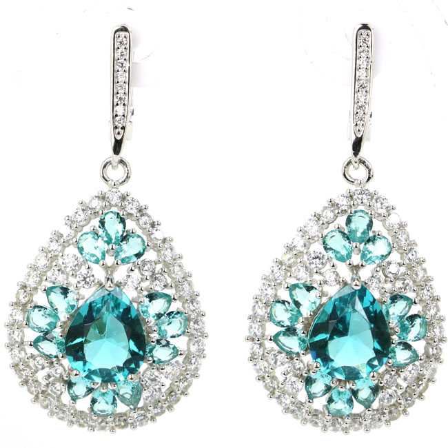 10.1g Real 925 Solid Sterling Silver Deluxe Rich Blue Aquamarine Cubic Zirconia Ladies Earrings 48x22mm