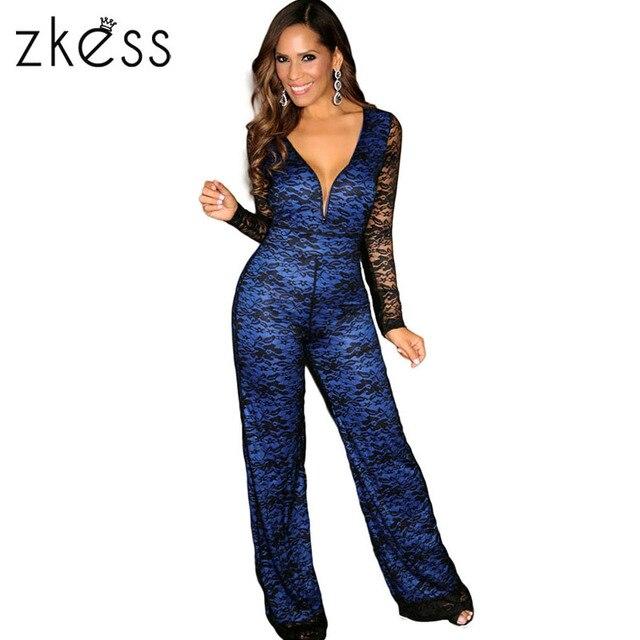 ZKESS Fashion Wholesale Black Lace on Beige Navy Blue V-neck Wide Leg Lace 4cbfcefb8bd4