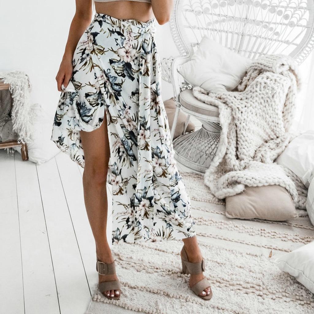 Swing Skirt Elastic-Waist Floral Elegant Casual Women's Summer Fashion Split Print Big thumbnail