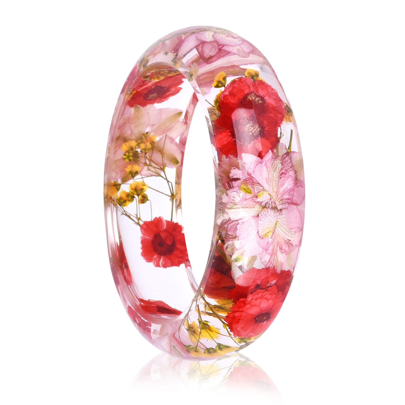 2018 New Dried Flower Resin Bracelet Bangle Real Flower Inside of Bangle Jewelry Best Gift