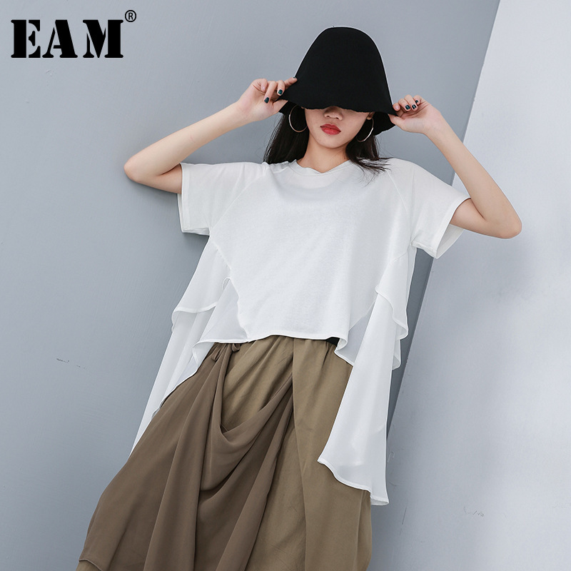 [EAM] 2020 New Spring Summer Round Neck Short Sleeve White Back Long Loose Chiffon Big Size T-shirt Women Fashion Tide JT176