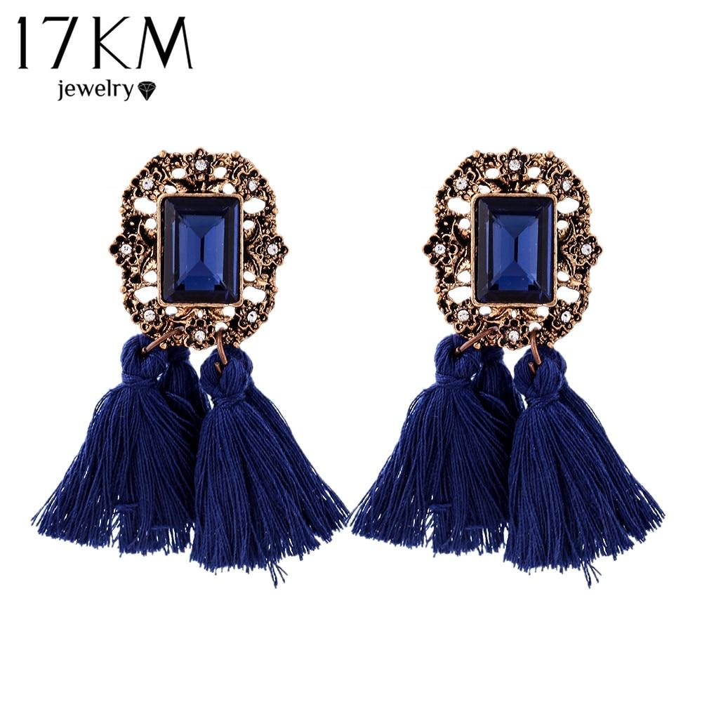 17KM New Vintage Crystal Tassel Dangle Earrings Brincos Pendiente Earrings For Women Gift oorbellen Long Pendant Drop Earring