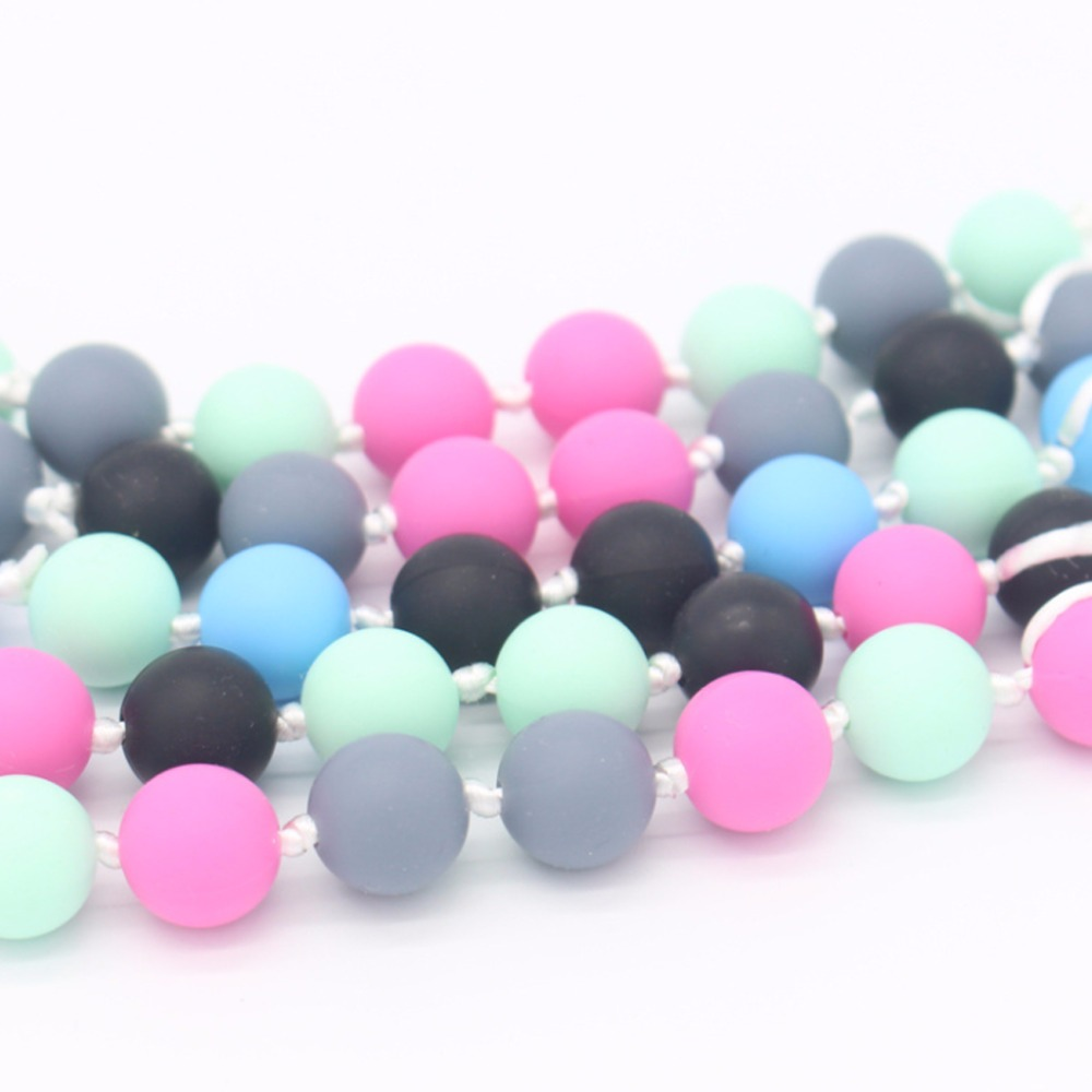 New 20Pcs 15mm Round font b Baby b font Chew Jewelry Silicone BPA Free Beads Teethers