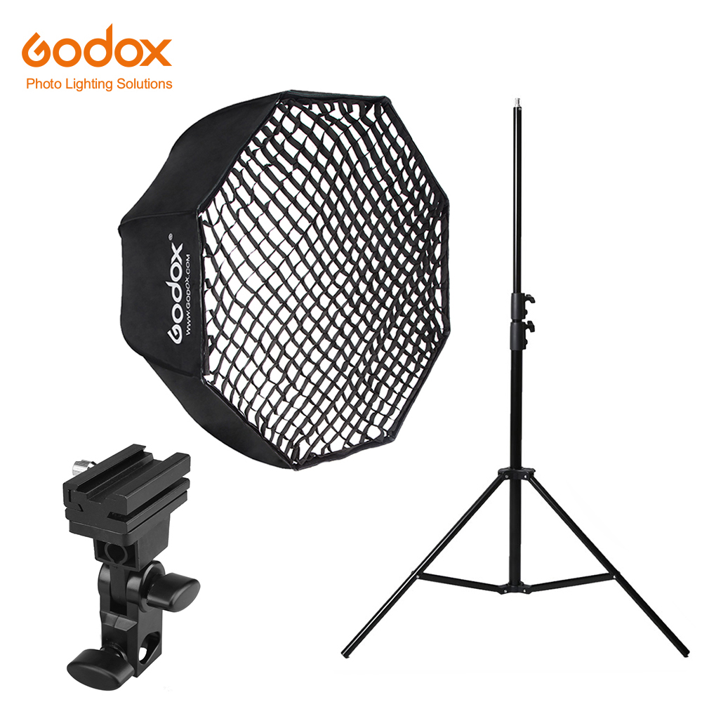 Godox 120cm Umbrella Octagonal Honeycomb Grid Softbox with 280cm Aluminum Light Stand Holder Bracket Kit for