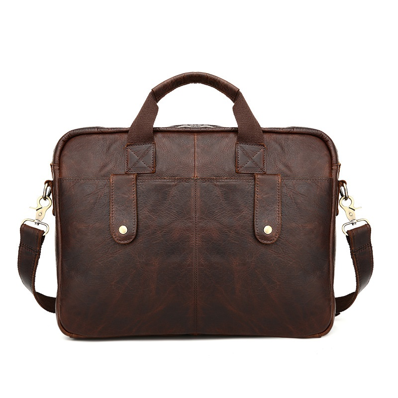 Vintage Briefcase Laptop Tote Genuine Leather Cowhide Shoulder Bag Handbag for Business England Style Messenger Bag vintage style women s genuine leather handbag tote top cowhide shoulder bag clutch evening bag braided handle