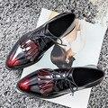 Borla de las mujeres Oxfords zapatos de Dedo Del Pie Acentuado estilo Británico Con Cordones de Pisos 2/5