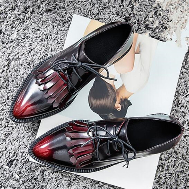 Women Tassel Oxfords shoes Pointed Toe British style Lace-Up Flats 2/5