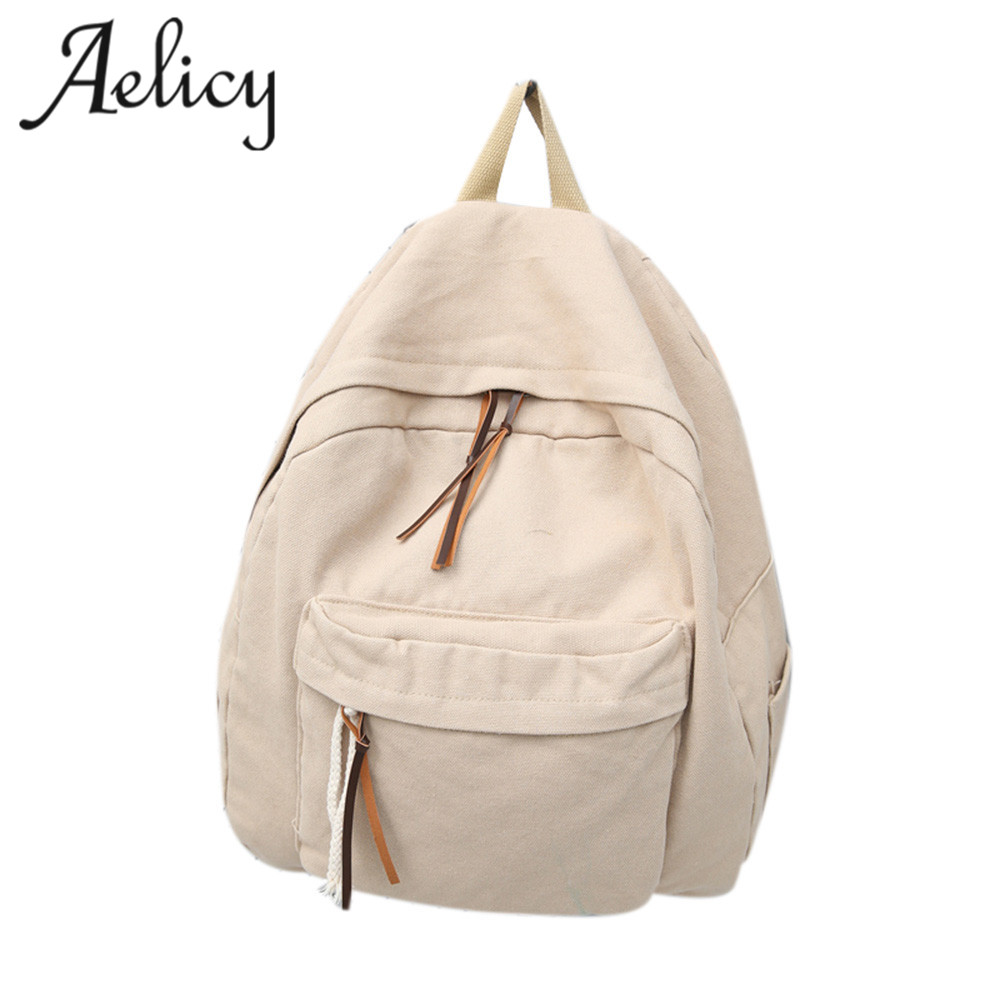 Aelicy 2017 New Solid Color Women Backpack High Quality Canvas Backpack Female School Bags For Teenagers mochila feminina