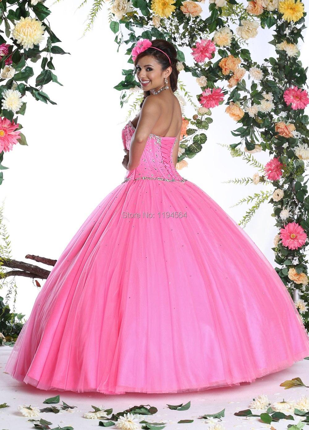 Impresionante amor moldeado vestidos rosa vestidos Quinceanera bola ...