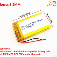 3.7V 1650mAh 823458 Lithium Polymer Li-Po li ion Rechargeable Battery cells For Mp3 MP4 MP5 GPS  mobile