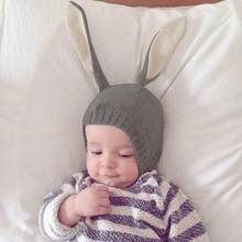 95afba9c781 Rabbit Ears Baby Hats Soft Warm Autumn Winter Hats Cute Toddler Kids  Knitted Bunny Beanie Caps for Unisex Baby 0-3Y Photo Props