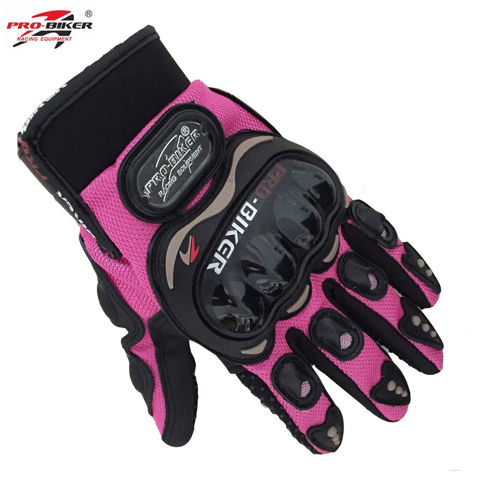 Womens pink leather motorcycle gloves - Pro Biker Women Motorcycle Full Finger Gloves Riding Moto Motorcross Sports Gloves Cycling Guantes Luvas Pink