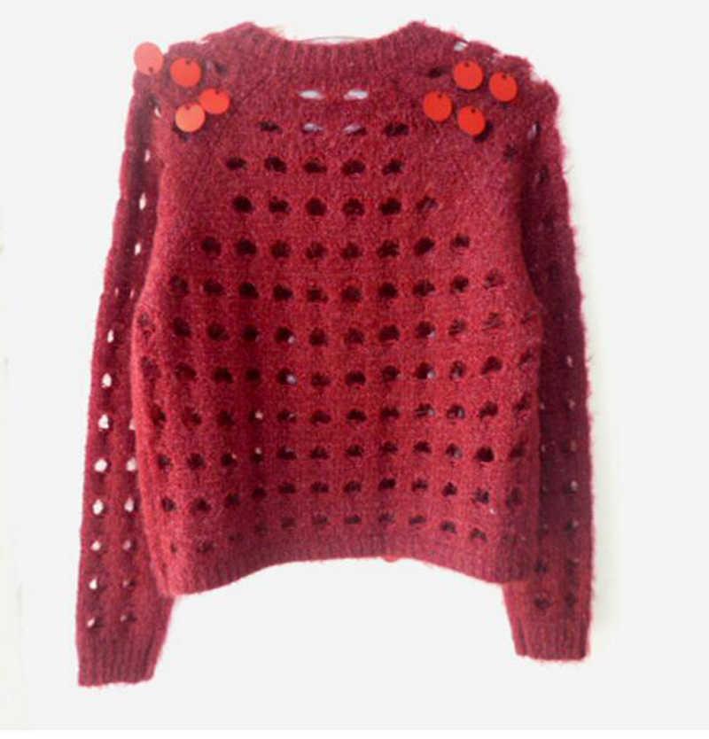 Пусть-установка новой женские пирсинг Блестки Короткие вязаный кардиган, свитер