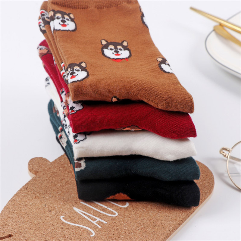 2019 Spring New Korean Cartoon Dog Cute Funny Ladies Socks High Quality Animal Cartoon Dog Cute Woman Cotton Socks S-8