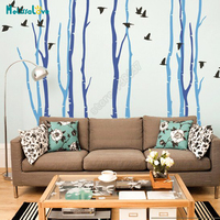 DIY Large Size Birch Trees And Bird 11 Trees In Total Nursery Wall Decal Baby Room Sticker Kid Room Wallpaper Decorative B921